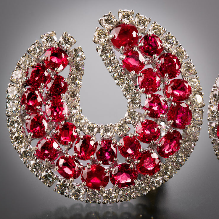 Bulgari Ruby and Diamond Ear Clips