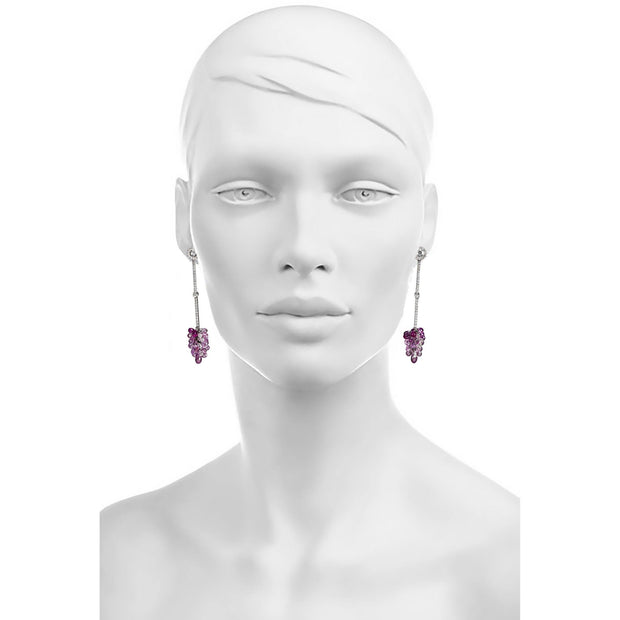 Sidney Garber Diamond and Pink Sapphire Earrings