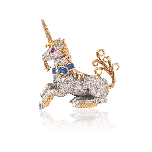 Schlumberger for Tiffany & Co. 18K Yellow Gold, Diamond and Lapis Unicorn Lapel Pin