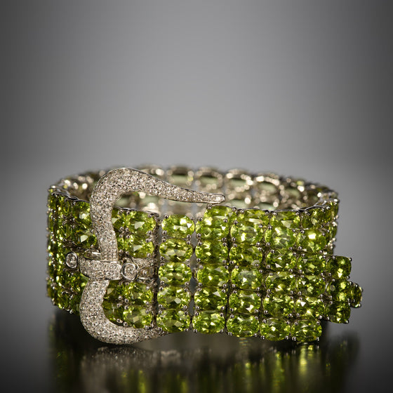 Peridot, Diamond and 18k Gold Buckle Bracelet