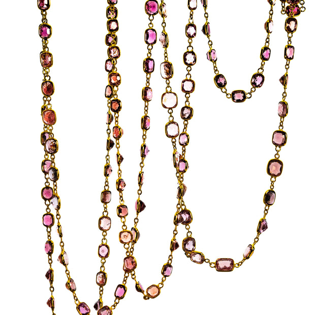 Spinel, Diamond and 18k Gold Long Chain
