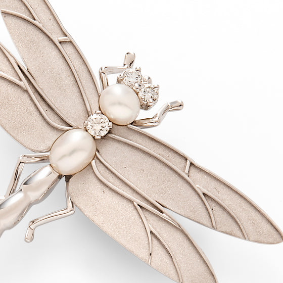 Tiffany 18k White Gold, Diamond and Cultured Pearl Dragonfly Brooch