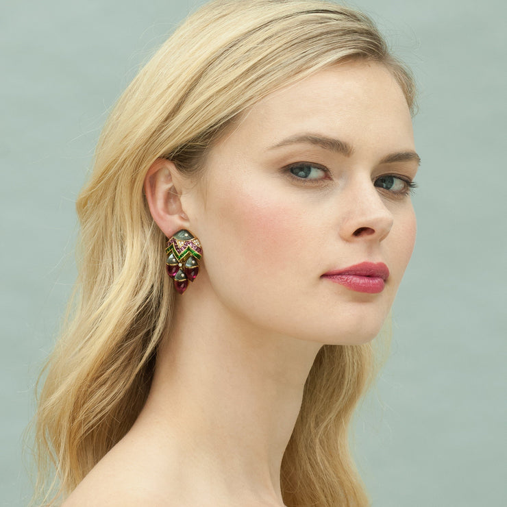 "Bulgari Diamond and Gem-Set ""Mama Pesce"" Ear Clips"