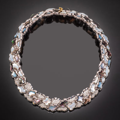 "Van Cleef & Arpels Mother of Pearl and Diamond ""Alhambra"" Necklace"