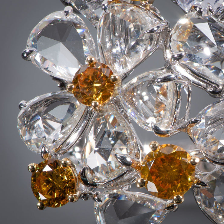 Orangy Yellow Diamond and Diamond Multi-Flower Ring - Tiina Smith Jewelry