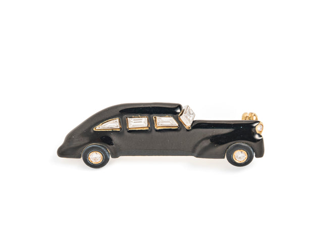Set of Three Enamel and Diamond Car Brooches