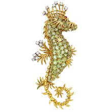 Jean Schlumberger for Tiffany & Co. Peridot, Diamond, Ruby and 18k Yellow Gold Seahorse Brooch
