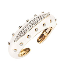 David Webb Diamond and White Enamel Slice Cuff