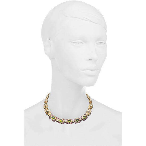 Van Cleef & Arpels Peridot, Pink Tourmaline and Diamond Necklace