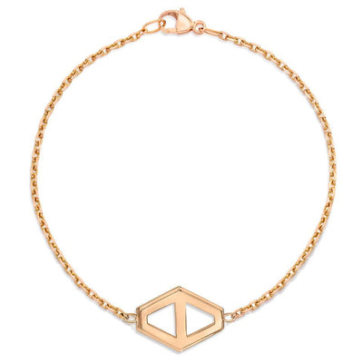 Walters Faith Medium Rose Gold Signature Hexagon Chain Bracelet