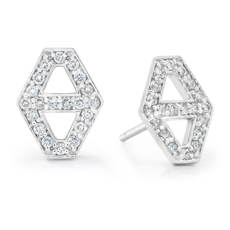 Walters Faith Small Diamond Signature Hexagon Earrings in White Gold