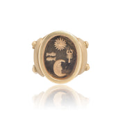 Kieselstein-Cord Gentleman's Gold and Citrine Intaglio Ring