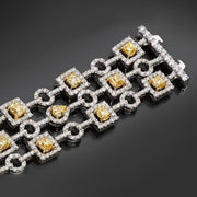 Yellow Diamond and White Diamond Geometric Bracelet - Tiina Smith Jewelry