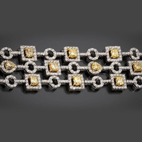 Yellow Diamond and Diamond Geometric Bracelet