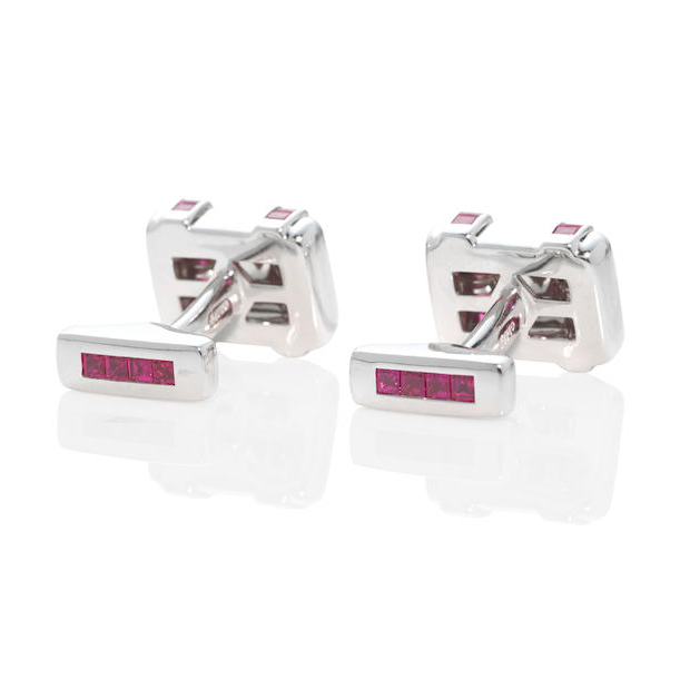 Graff White Gold and Ruby Cufflinks