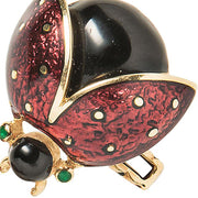 David Webb 18k Yellow Gold & Enamel Lady Bug Cufflinks