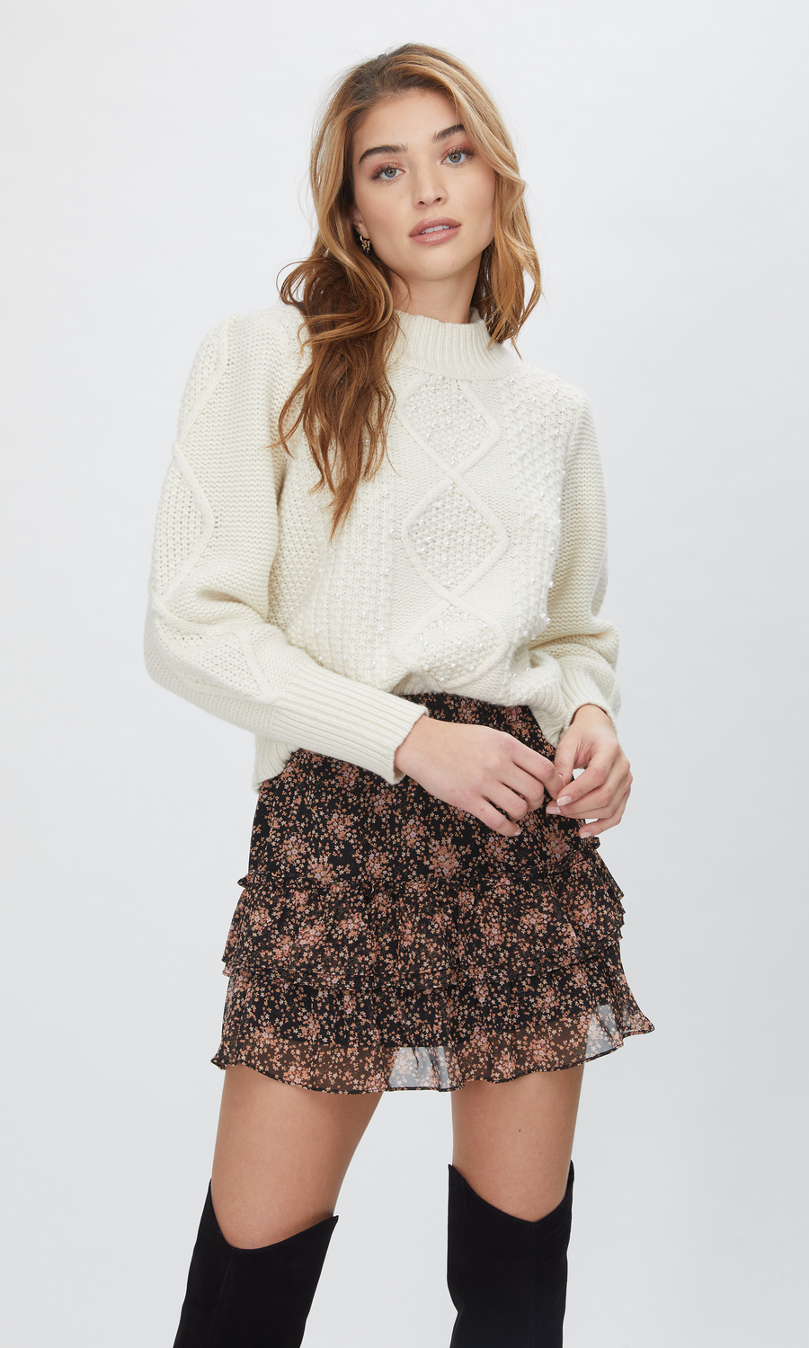 Aspen Pearl Cable Sweater