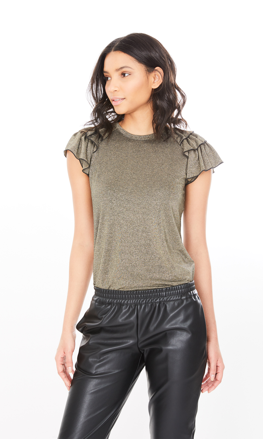 Carrie Lurex Ruffle Top