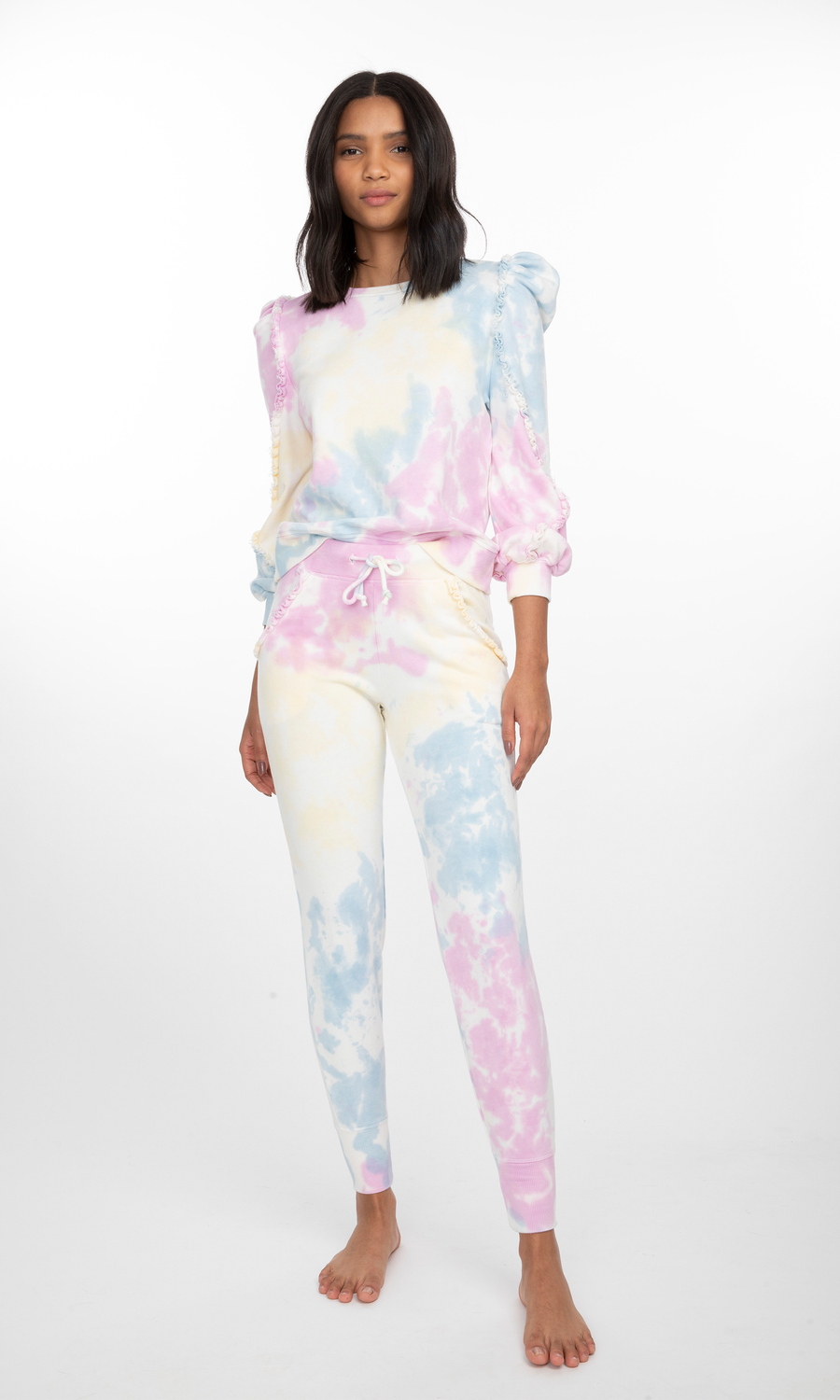Kate Ruffle Tie-Dye Sweatpants