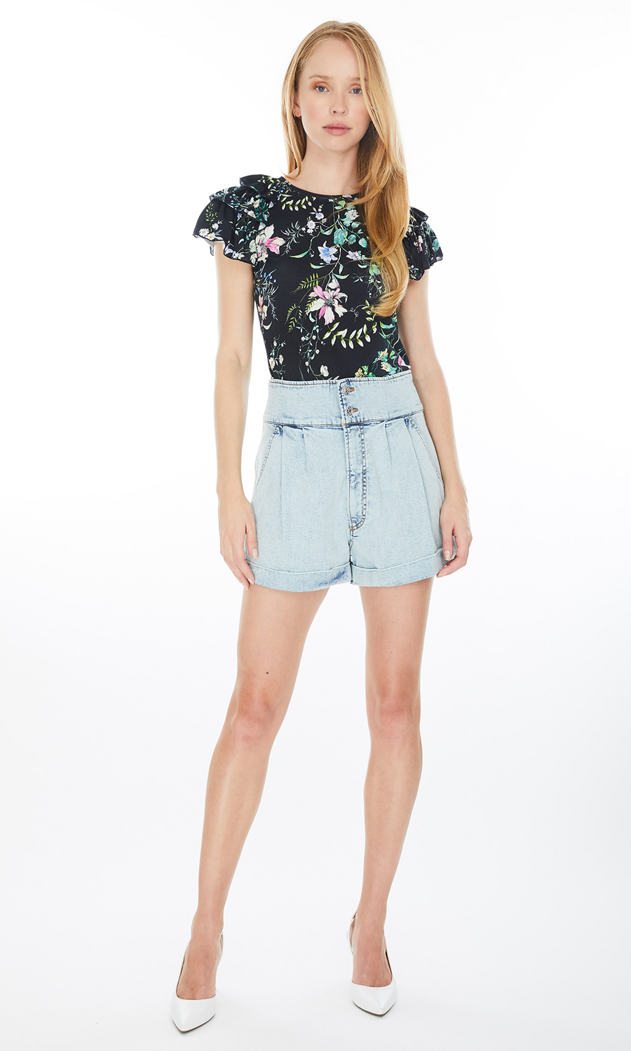 Carrie Floral Ruffle Top