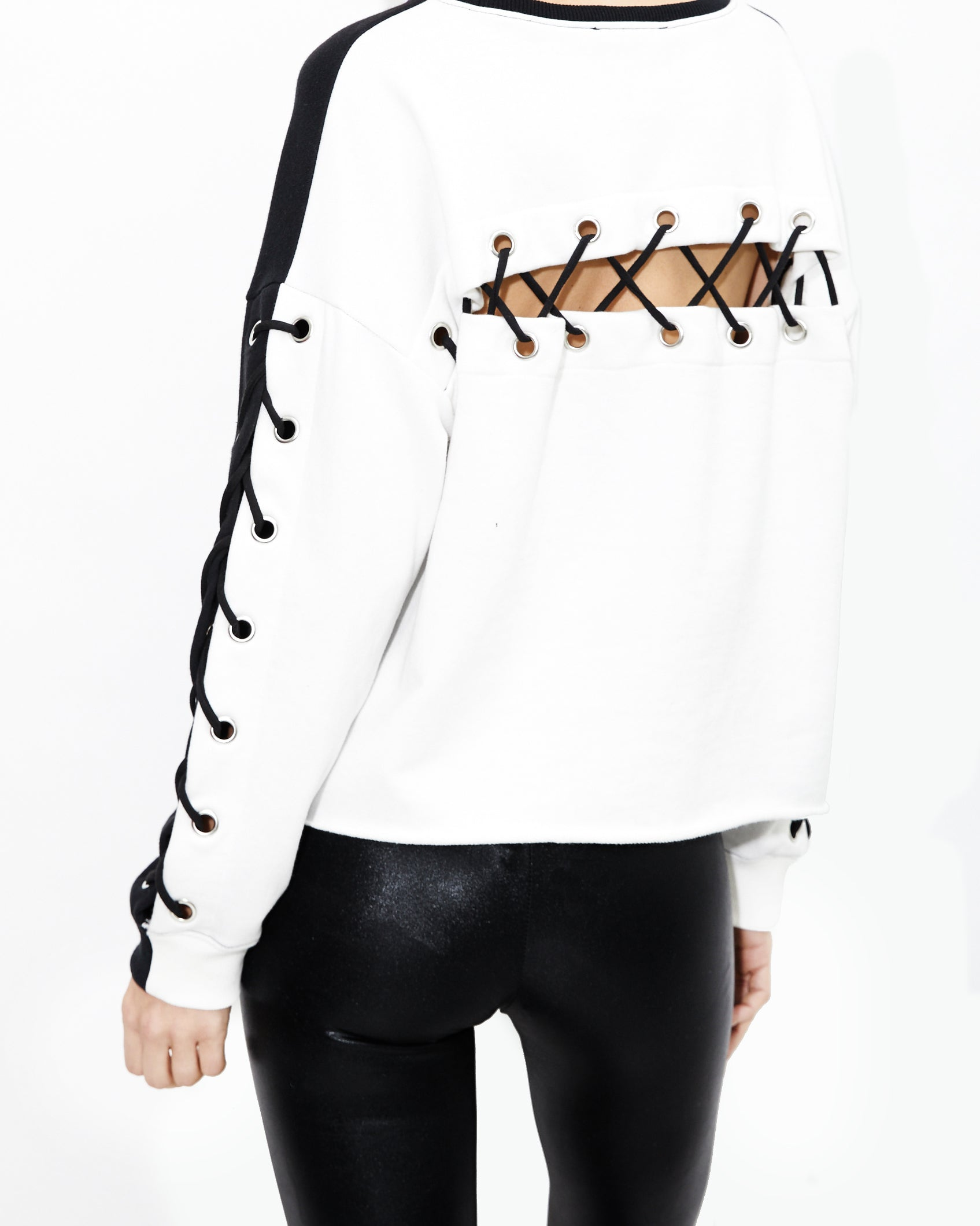 Alexis Lace Up Sweatshirt. Generation Love. NYC Modern Women's Clothing