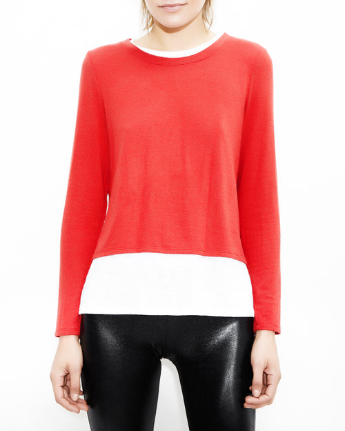 Ellie Double Layer Red and White Top. Generation Love. NYC Modern Women's Clothing