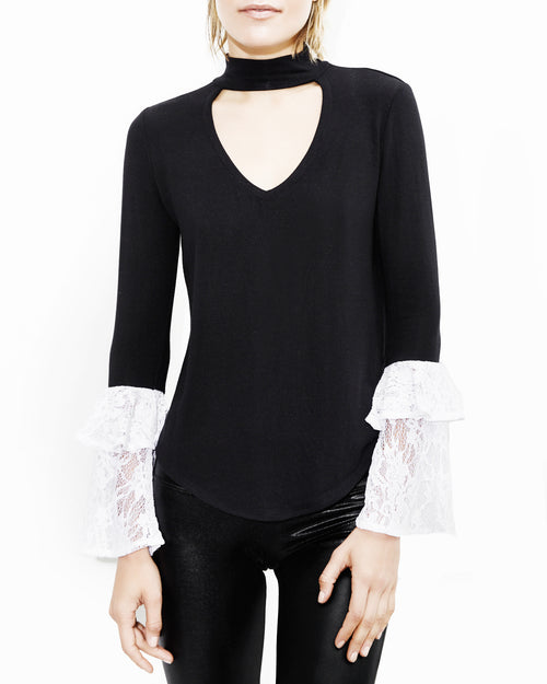 Franklin Lace Black and White Top. Generation Love. NYC Modern Women's Clothing