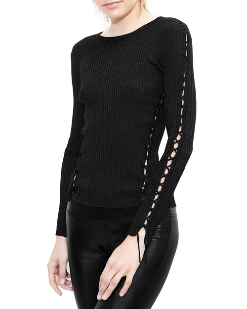 Kirsten Lace Up Black Top. Generation Love. NYC Modern Women's Clothing
