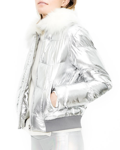Luke Bomber Silver Jacket. Generation Love. NYC Modern Women's Clothing