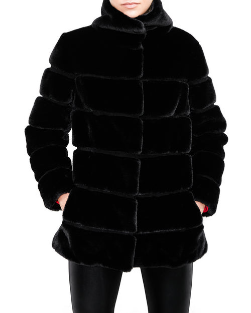 Odile Black Faux Fur Jacket. Generation Love. NYC Modern Women's Clothing