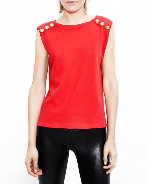 Royce Red Button Top. Generation Love. NYC Modern Women's Clothing