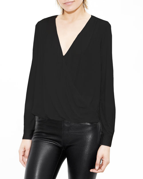 Black Drape Shirt. Generation Love. NYC Modern Women's Clothing