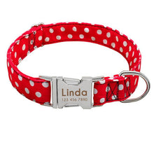 Load image into Gallery viewer, Personalised Spotted Nylon Puppy Dog Collar Personalised Luxury Dog Bow Ties and Collars - Waggy Ways