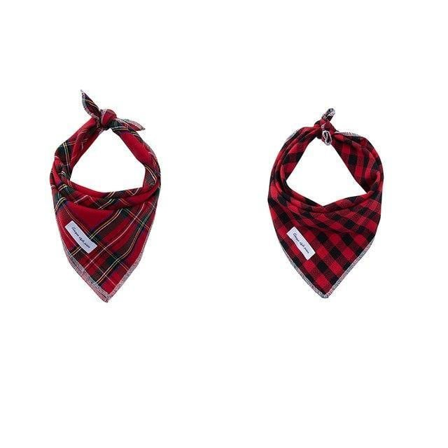 Tartan and Red Check Bandana Pair [product_type] Luxury Dog Bow Ties and Collars - Waggy Ways