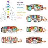 7 Chakra Reiki Natural Stone Beaded Bracelets  handmade Rope Leather