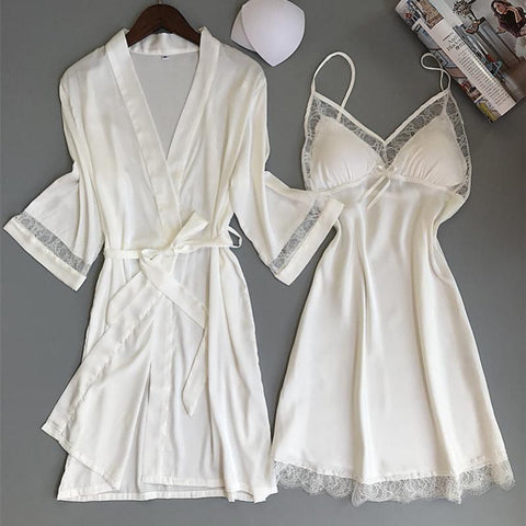 Kimono Bathrobe WHITE  Robe Set Lace Trim