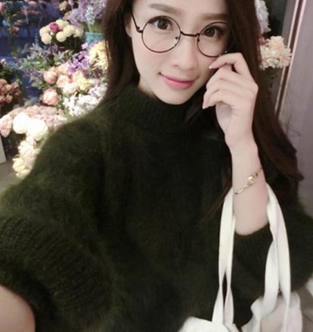 Thickened Warm Turtleneck Mohair Female Sweater Lantern Sleeve Casual Solid Color Slim