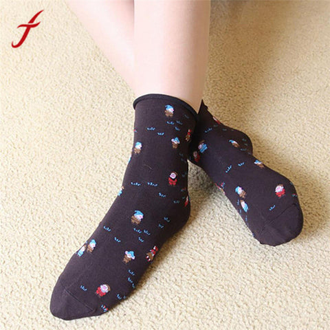 Socks Christmas Women Girl Casual Santa Claus Socks Soft Cotton Breathable Warm
