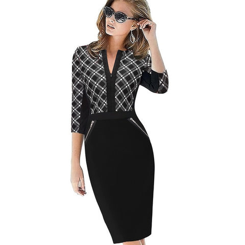 Front Zipper V Neck Plus Sizes Formal Bodycon Business Casual Dress