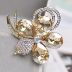 Vintage Gold Brooch Pins Austria Crystals Imitation Pearl Flower Brooch Wedding Accessories