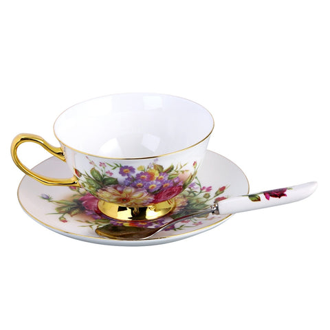 European Style Coffee Tea Set Creative Ceramic Coffee Cup Set for Afternoon Tea British Red Saucer Sets Domestic Cups