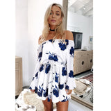 Womens Off Shoulder Floral Printed Long Sleeve Beach Dress With Belt