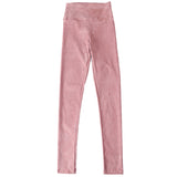 suede leather women pants high waist large elastic slim retro leather suede pants
