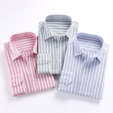 Cotton Striped Mens Shirt Long Sleeve Oxford Dress Shirt
