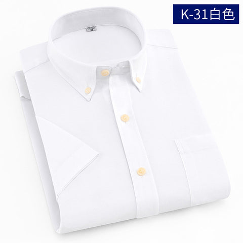 Short Sleeve Shirt Men 2018 Summer New Office Basic Style Men's Oxford Shirt Plus Size Solid White Blue Cotton Male Shirt Tops