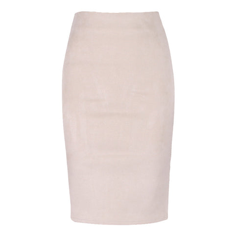 Winter Solid Suede Multi Package Hip Pencil Midi Skirt Autumn Winter