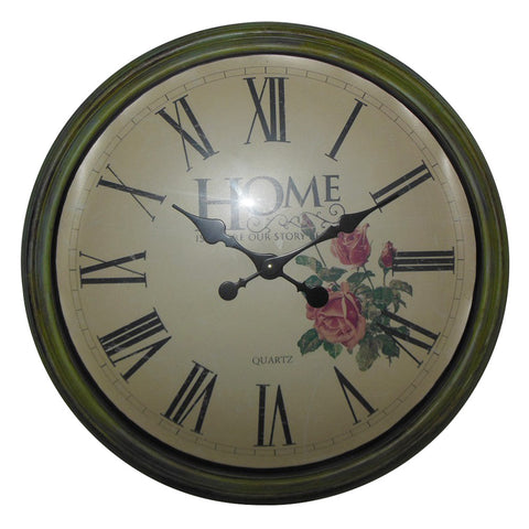 Round Decorative Wall Clock Retro Quartz Battery Operated Clock