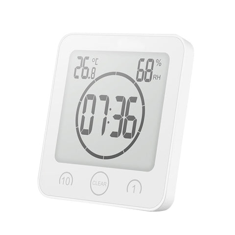 Digital Shower Alarm Clock Timer Waterproof Temperature Humidity Meter Bathroom Suction Clock