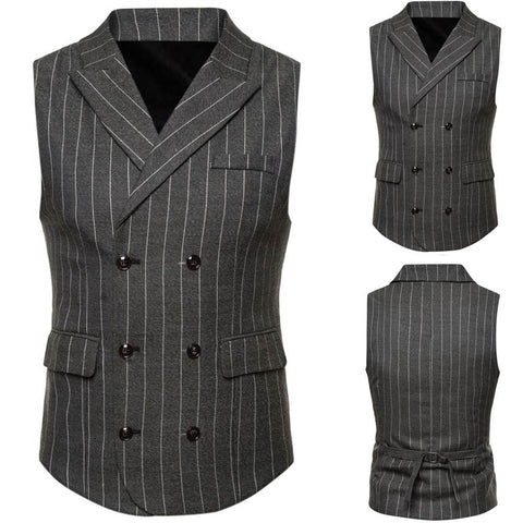 Men Striped Casual Printed Sleeveless Jacket Coat British Suit Vest Blouse