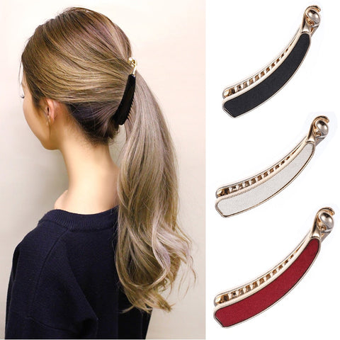 Solid Cloth Hairpins Girl Banana Barrettes Clip Korean Style for Elegant Female